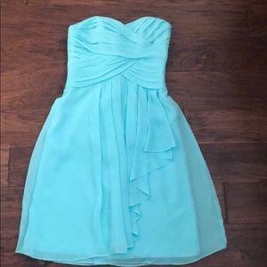 Aqua David's Bridal bridesmaid dress